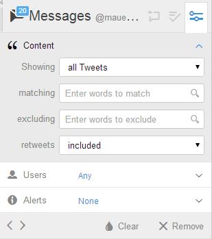 Tweetdeck управление колонками