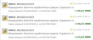 Выплаты Копилансер 01 декабря
