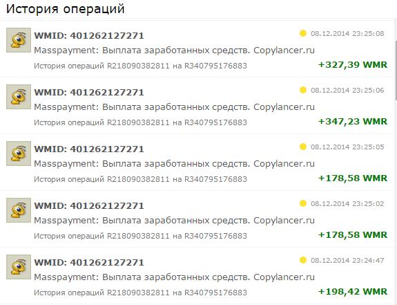 Выплаты Копилансер 08 декабря