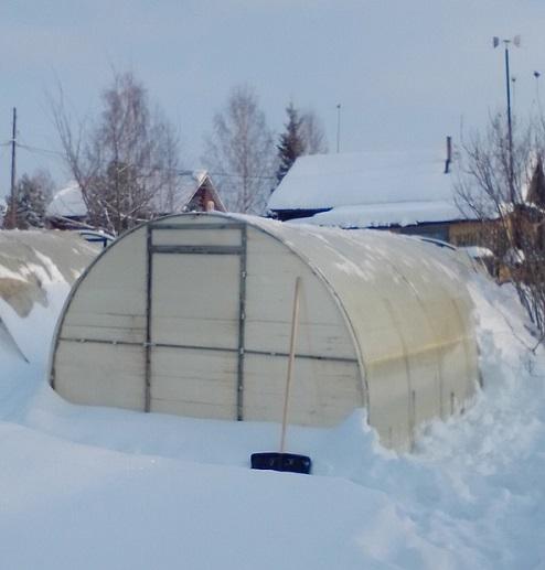 почистить теплицу от снега